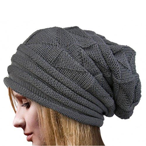 YWLINK Damen Einfarbig Winter Hut HäKeln Wollknit Beanie Warme Kappen Pfahlkappe WollmüTze(Freie Größe,Grau)