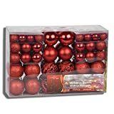 HSM 200 x Weihnachtskugeln Rot Christbaumkugeln Baumschmuck Weihnachtsdeko