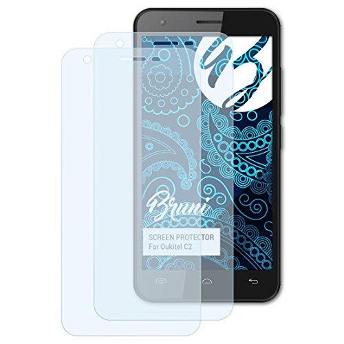 Bruni Schutzfolie für Oukitel C2 Folie, glasklare Bildschirmschutzfolie (2X)