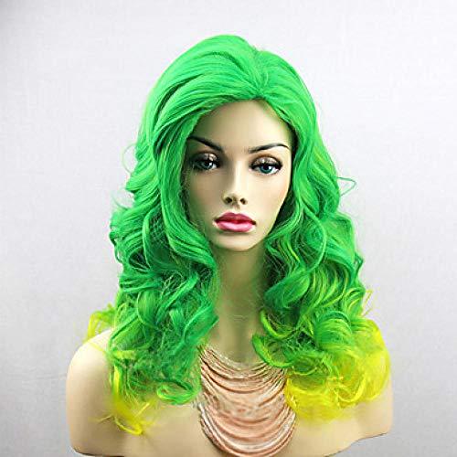 Weiblich zwei Schattierungen grün bis gelb langes lockiges Haar hitzebeständige Kunsthaar Perücke Cosplay Party Halloween @ Green_28 Zoll