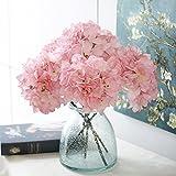 2 Blumenstrauß 42CM / 16.5 Artificial Hortensie, Richer Stoff Kunstblumen aus Seide Blume Gefälschte Arrangement Zimmer Hydrangea-Hochzeit Halten Blumen + Richer Keyring