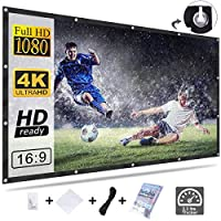 Upgrade 120 Inch Projector Screen, Homemaxs HD 16:9 Foldable Anti-Crease Portable Projector Screen for Home Theater Indoor Outdoor Movie Screen Support Double-Sided Projection