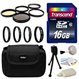 Professional Lens and Filters Accessories Bundle for Sony A3500, A7, A7R, A7S, A100, A200, A230, A290, A300, A330, A350, A380, A390, A450, A500, A550, A560, A580, A700, A850, A900, A33, A35, A37, A55, A57, A58, A65, A99, HX300 includes Transcend 16GB SD Memory Card + Deluxe Carrying Case + 4 Piece Close Up Macro Filter Kit + 5 Piece Professional Filters Set + Camera Cleaning Set