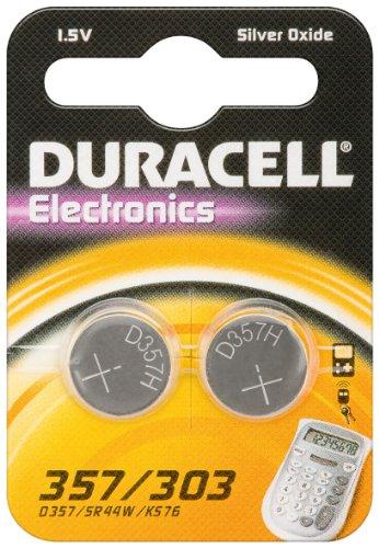 2er Set Duracell Batterie Elektronik 357/303 Silberoxydknopfzelle (SR44) 1,5V 2St SR 44 / 357/ 303 - 357-batterien