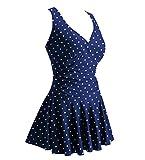 Summer Mae Damen Badekleid Plus Size Geblümt Figurformender Einteiler Badeanzug Swimsuit Navy Polka Dot (EU Size 40-42)(Herstellergröße: M)