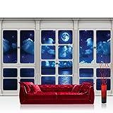 Vlies Fototapete 152.5x104cm PREMIUM PLUS Wand Foto Tapete Wand Bild Vliestapete - Meer Tapete Nachthimmel Mond Wolken Sterne Fenster natural - no. 3413