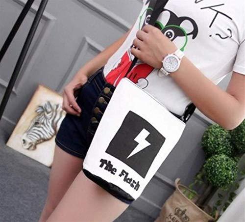 OIBHFO Home Kleine Tasche Weibliche Cartoon Flash Schulter Umhängetasche Leinwand Druck Eimer Kleine Tasche