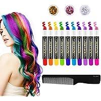 FrCOLOR - Tiza para el pelo para niños, 10 colores de pintura temporal para el pelo para niñas, lavable, tinte para el pelo, bolígrafos, regalo de Navidad, regalo de cumpleaños, regalo de Halloween