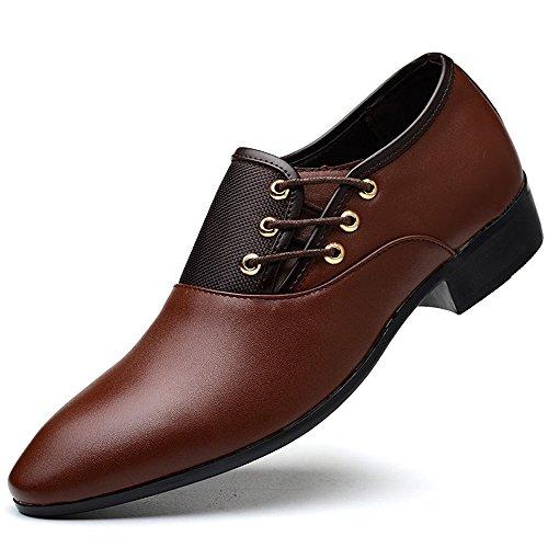 TYLS Shoes lww-Scarpe uomo scarpe basse in pelle Testa tonda colore solido bocca poco profonda Brown