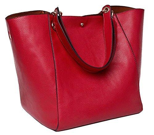 Tibes Art und Weise wasserdichte Schultertasche Kunstleder Handtasche Rot