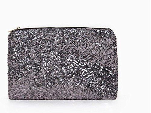 CC * CD Hochzeit Abend Party Luxus Glitzer Pailletten Clutch Handtasche Hand Tasche, PU, goldfarben, 25*16*6cm Silber