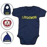 Babyset Feuerwehr Löschzwerg - Strampler/Schnuller/Mütze/Lätzchen/0-12 Monate/Komplettset/Beruhigungssauger + Babybody (6-12 Monate, Navy Blau)