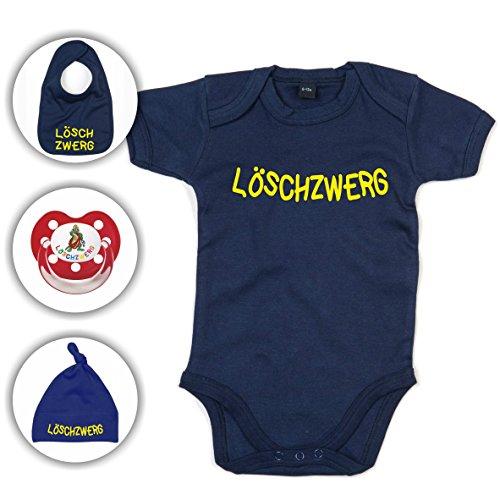feuerwehrstrampler Babyset Feuerwehr Löschzwerg - Strampler/Schnuller/Mütze/Lätzchen/0-12 Monate/Komplettset/Beruhigungssauger + Babybody (6-12 Monate, Navy Blau)