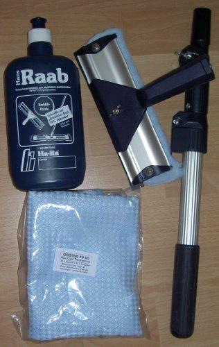 Ha-Ra Vollpflege 1 x 500ml & 1 x Ha-Ra Fensterwischer 19cm & 1 x Crotan XXL Trockentuch Microfaser 50 x 68 cm & 1 x Teleskopstange (von 0,5 m bis 1,0 m verstellbar)
