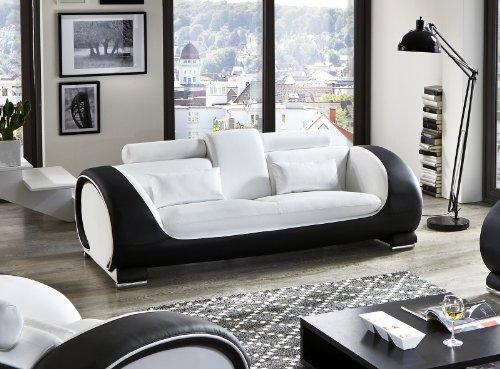 SAM® Design Garnitur Vigo 3 teilig in Weiß / weiß / schwarz futuristisches Design by Ricardo Paolo 3-Sitzer Couch 230 cm 2-Sitzer 152 cm und Sessel 108 cm mit Getränkehalter Kopfstützen verstellbar angenehme Polsterung montiert Auslieferung durch Spedition - 4