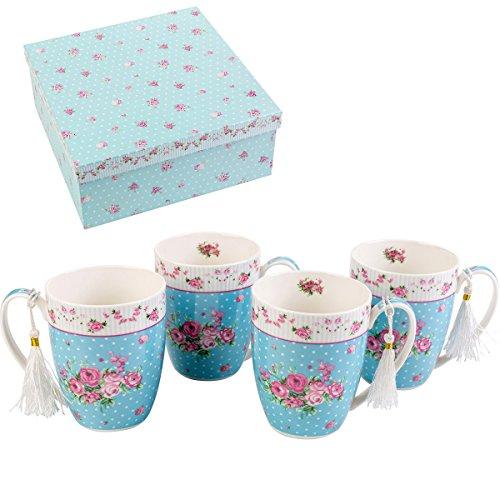 London Boutique K414Set von 4Tassen, Geschenk-Set, Rose Blau White Rose Tasse