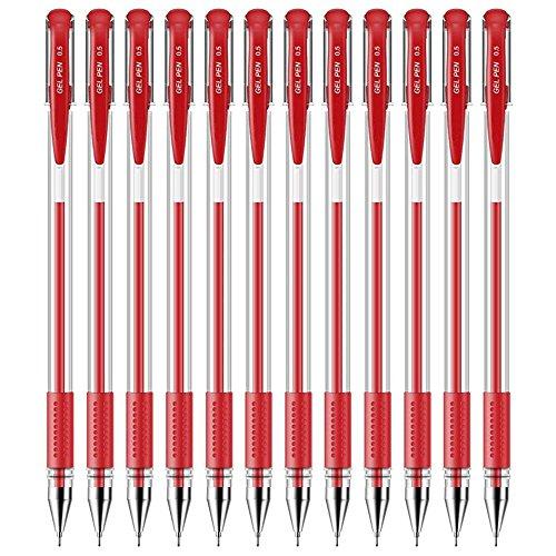 Qzbaoshu 12 penna neutra nera penne roller a inchiostro gel (rosso * 12 pezzi)
