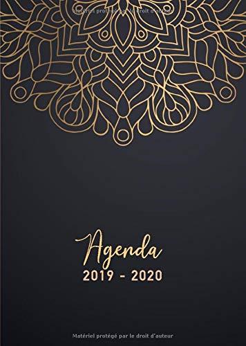 Agenda 2019/2020: 17 mois journalier 2019-20 - format A5 - août 2019 à décembre 2020 - planificateur, semainier simple & graphique, motif mandala or et noir par Papeterie Collectif