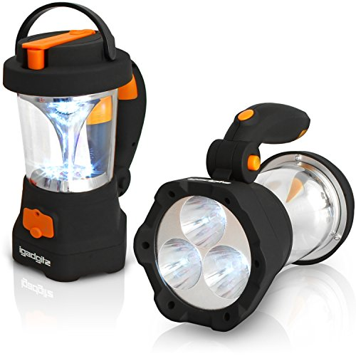 igadgitz Xtra Lumin 4 en 1 Dínamo Recargable Antorcha 3 LED Reflectores y Linterna 10 LED + 1 Año de Garantía