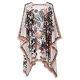Rrimin Women Vintage Floral Printed Shawl Kimono Cardigan Boho Chiffon Blouse