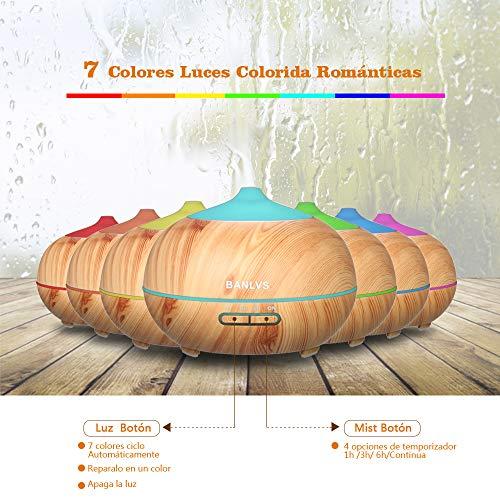 BANLVS Humidificador Aromaterapia Ultrasónico con Mando a Distancia,  400ML Difusor de Aceites Esenciales de 7- Color LED y 4 Temporizador,  Humidificador Aromaterapia Bebé para Hogar,  Dormitorio