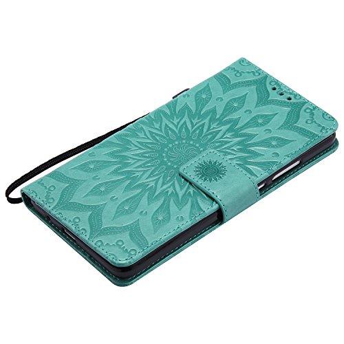 Für Huawei Mate 7 Fall, Prägen Sonnenblume Magnetische Muster Premium Soft PU Leder Brieftasche Stand Case Cover mit Lanyard & Halter & Card Slots ( Color : Purple ) Green