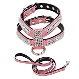 Alxcio Pet Haustier Hund Kragen Einstellbar Hund Katze Halsbänder Strass Bling PU-Leder Diamanten Größens S / Farben Rosa