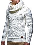 LEIF NELSON Herren Pullover Strickpullover Hoodie Hoody LN7025F; Größe M, Weiss/Beige
