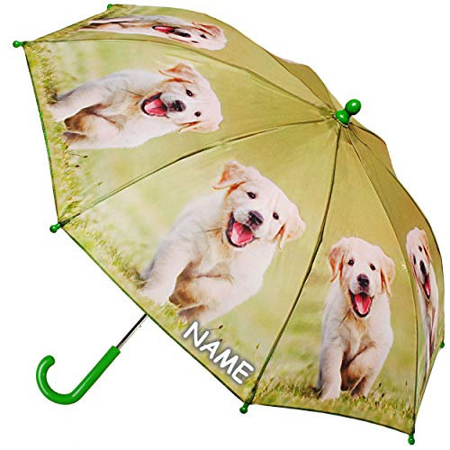 alles-meine.de GmbH 2 Stück _ Regenschirme / Kinderschirme - Labrador - Hunde - Haustier - inkl. Name - Ø 69 cm / Kinder Stockschirm mit Griff - Regenschirme - für Mädchen Jungen.. -