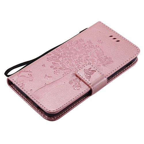 Custodia Galaxy J3 2017, ISAKEN Flip Cover per Samsung Galaxy J3 2017 con Strap, Elegante borsa Tinta Unita Albero Design in Sintetica Ecopelle PU Pelle Protettiva Portafoglio Case Cover con Supporto  Albero: rose gold