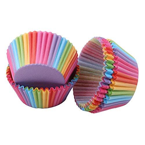 Ellepigy 100Pcs Bunt Backen Papier Fällen Cupcake Wraps Regenbogen Cases Cupcake Halter Muffin Cups Liner für Hochzeit Geburtstag - Papier Wrap-halter