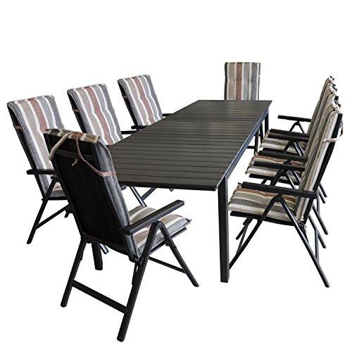 17tlg. Sitzgruppe Gartentisch, ausziehbar, Polywood Tischplatte schwarz, 280/220x95cm + 8x Hochlehner, Lehne 6-fach verstellbar, Textilenbespannung + 8x Stuhlauflage / Gartengarnitur Gartenmöbel Terrassenmöbel Set Sitzgarnitur