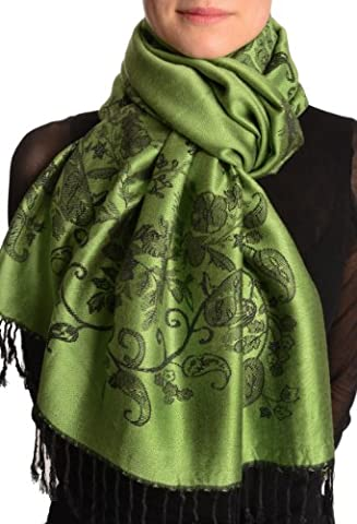 Roses Frame On Kelly Green Pashmina Feel With Tassels - Green Pashmina Floral Scarf