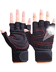 CESHUMD Sport Gym Guantes Mitad Dedos Levantamiento Breathable Fitness – Pesas Guantes Hombres Mujeres Gym Guantes tamaño L, Color Negro, tamaño Large