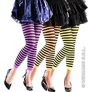 WIDMANN Aptafêtes?ac4200?Leggings Halloween Negro Rayas 70Deniers, Talla 18x 22,5x 6cm