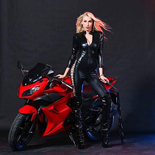 Leder-Lack Leder Katze Und Mädchen Nachtclub DS Patent Leder Club Kleidung Single Girl Sexy Unterwäsche Motorrad-Kleidung,Black,XL Kid Patent-leder