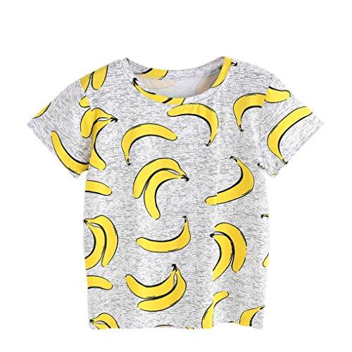 Fuibo Frauen Sommer gedruckte T-Shirt Kurzschluss Hülsen graue Banane Blusen Oberseiten (M, Grau) (Bananen-tank)