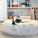 Extra Large Washable Faux Fur Dog Bed with Outer Cover Donut Calming Cat Sofa Reversible Cushion Puppy Sleeping Bag Self-Warming Kennel, XXL