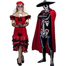 Ilovefancydress - Pareja de disfraces de Día de los Muertos para hombre y mujer (estilo mexicano, tallas S-XL)