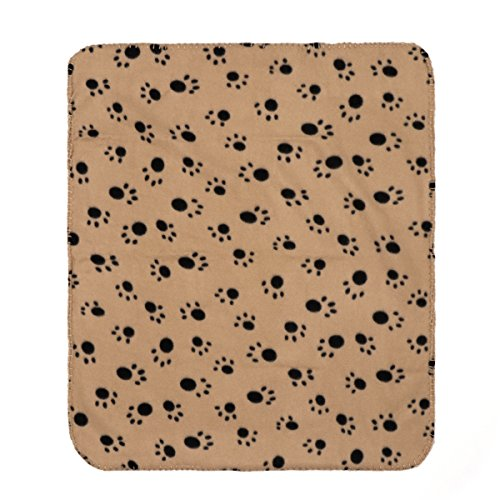 Coperta pile animali UEETEK Copertine tappetino per gatti e cani con stampa di zampe di 60x70cm (Marrone)