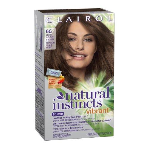 Clairol Colorant crème Natural Instincts Vibrant - Avec antioxydants - Couleur 6G Hot Tea (Châtain clair doré)