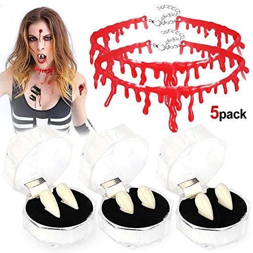 Dämon Wasser Kostüm - Howaf 5 Paare Vampirzähne Vampir Fangs Kit Vampir Zahnersatz und Blut Halskette für Halloween Vampir Cosplay und Make up/Schminke, Dekoration, Zombie, Dämon