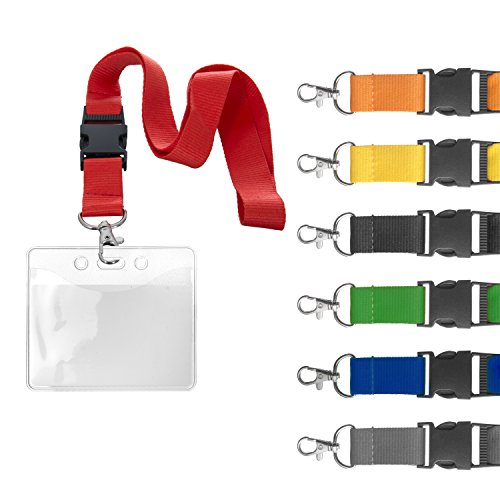 Karteo® Ausweishülle mit Schlüsselband | Lanyard rot | Kartenhalter horizontal Weichplastik