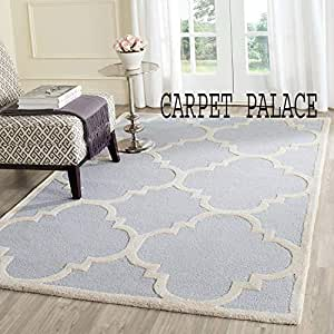 Carpet palace Handwoven Pure Wollen Modern Carpets Loop/Cut Pile Collection for Bedroom-Drawing Room-Floor-Dining Hall (5x8 Feet) Color Sky Blue & White