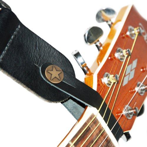 Bentley-leder (Leder-Gurtschlaufe für akustische Gitarre, Schwarz)