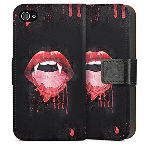 Apple iPhone 5 Housse étui coque protection Vampire Croc Bouche Sideflip Sac