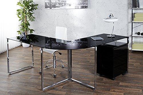 Invicta Interior 18835 Studio Eck-Schreibtisch Glas, schwarz