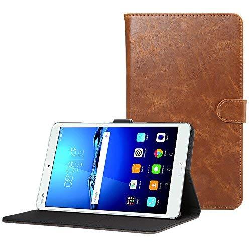 CLM-Tech Huawei MediaPad M3 8.4 Tablet Tasche im eleganten Kunstleder für Huawei MediaPad M3 8.4 (8.4 Zoll) Hülle mit Standfunktion braun