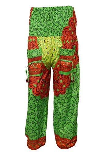 Indiatrendzs Pants Women\'s Harem Pants Green Floral Peacock Prints Trouser