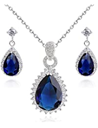 Teardrops 18 ct Gold Plated Blue Simulated Sapphire Zirconia Crystals Set Necklace Earrings Bracelet SN9pTu2JZ